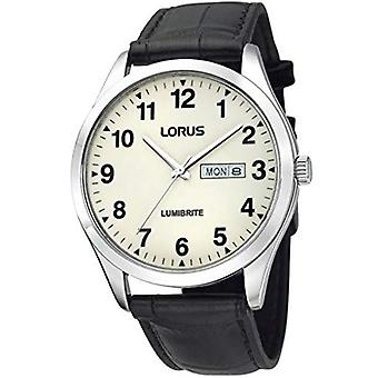 Lorus Lumibrite Quartz Off White Dial Black Leather Strap Men-apos;s Regarder RJ647AX9