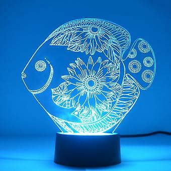 Kwiat kwiatowy kolor ryb zmiana LED Mini Akrylowy Światło