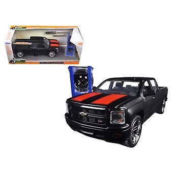 2014 Chevrolet Silverado Pickup Truck Matt Black \Just Trucks\ with Extra Wheels 1/24 Diecast Model by Jada