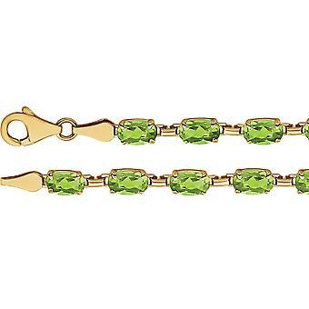 14k Yellow Gold Peridot Peridot 7.25 Inch Bracelet Jewelry Gifts for Women