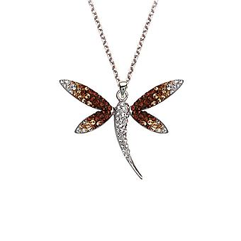 925 Sterling Silver Rhodium Plated Dragonfly Gradual Clear To Brown Crystal Necklace 18 Inch Jewelry Gifts for Women