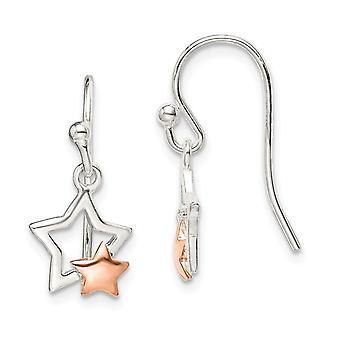 925 Sterling Argent et Rose ton Star Long Drop Dangle Boucles d'oreilles Bijoux Bijoux pour les femmes - 2.0 Grammes