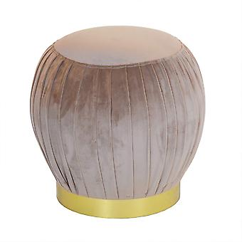Charles Bentley Round Pandiato velluto Footrest/Footstool/Pouffe/Dressing Table Sgabello con Gold Base Taupe