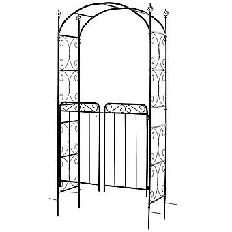 Outsunny Garden Decorative Metal Arch with Gate Outdoor Patio Trellis Arbor for Climbing Plant Archway Antique Black - 108L x 45W x 215Hcm