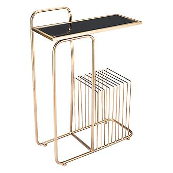 """19.7"""" x 8.5"""" x 28.3"""" Gold, Steel, Mirror, Side Table"""