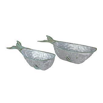 Sett med 2 galvanisert metall hval planters urt hage trau blomst potten dekor kunst