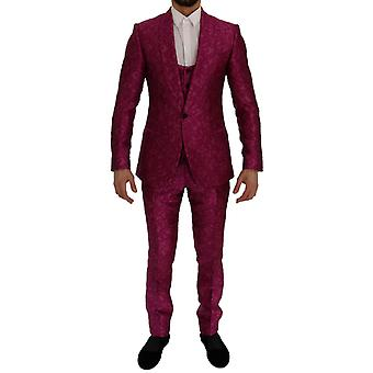 ドルチェ&ガッバーナ ピンク ジャカード 3ピース スリムフィットスーツ