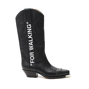 Off-white Owia124r20d680841001 Women's Black Leather Boots