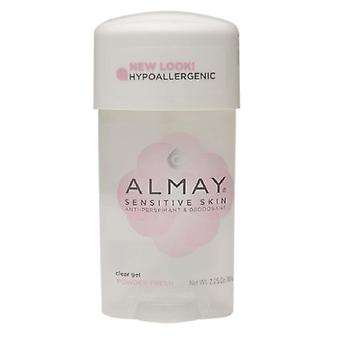 Almay sensitive skin clear gel deodorant, powder fresh, 2.25 oz