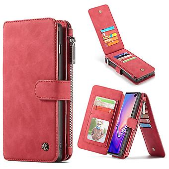 For Samsung Galaxy S10 Case, Red Detachable Leather Wallet Cover 14 Card Slots