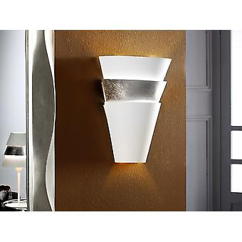 Schuller Isis - Wall lamp of 1 light made of lacquered metal. Metal shade finished in matt off-white and SILVER LEAF. - 648388