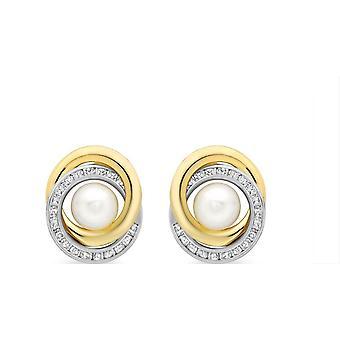 Örhänge med KJ Beckett pärla Cubic Zirconia Swirl - gul Guld/Silver