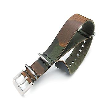 Strapcode n.a.t.o watch strap 24mm miltat grezzo zulu watch strap woodland camouflage geniune calf, sandblasted