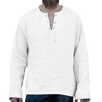 Allthemen Pánske&apos, s letné dlhý rukáv okolo krku tenké ležérne bavlnené tričko