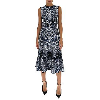Alexander Mcqueen 585243q1af94034 Women's Multicolor Silk Dress