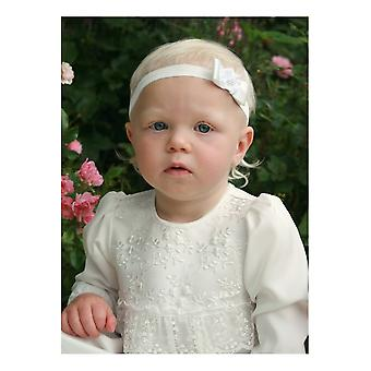 Diadem For Baby's Baptism With Off White Bow And Flower - Grace Of Sweden