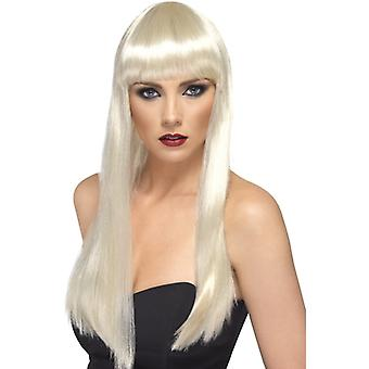 Μακριά περούκα ομορφιά ξανθιά με πόνυ πολυτέλεια μακριά περούκα μαλλιά