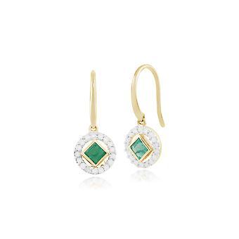 Classic Square Emerald & Diamond Halo Drop Pendientes en oro amarillo de 9 qt 135E1227039