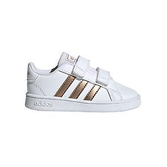أديداس جراند كورت للأطفال الرضع الرياضة أزياء مدرب حذاء أبيض / نحاس