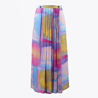 PS Paul Smith  - Chiffon Printed Pleated Skirt - Pink/Multi