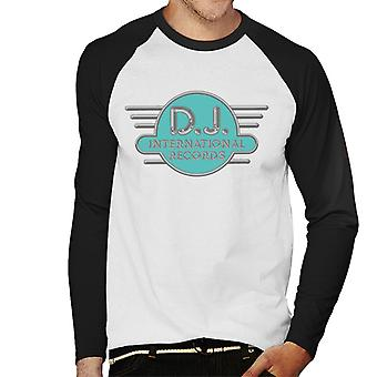 DJ International Records Cyan Logo Men's Baseball Long Sleeved T-Shirt