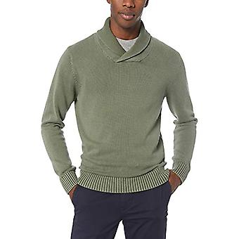 Brand - Goodthreads Men's Soft Cotton Shawl Sweater, Washed Olive, XX-...