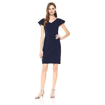 Merk - Lark & Ro Women's Flutter Sleeve Double V Neck Sheath Dress, Navy, 6