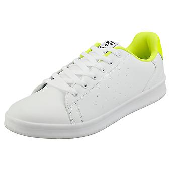 hummel Busan Mens Casual Trainers in White Yellow