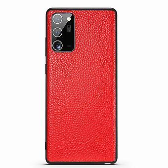 Para Samsung Galaxy Note 20 Caso Couro Genuíno Slim Fit Capa protetora vermelha