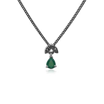 Art Nouveau Style Pear Emerald & Marcasite Pendant Necklace in 925 Sterling Silver 214N488906925