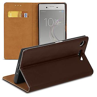 Cover with Card Compartment for Sony Xperia XZ1 Compact Leatherette Magnetic Lock Wallet Brown