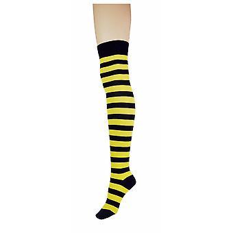 Women's Thick Stripe Over The Knee High Costume Calzini 4-6 UK