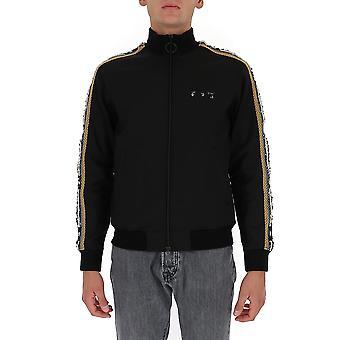 Off-white Omea249f20fab0011001 Män's Svart Nylon Sweatshirt
