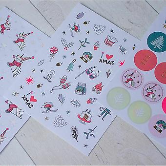 Unicorn Christmas Sticker Pack 290 Stickers Fun Foiled Xmas Stickers