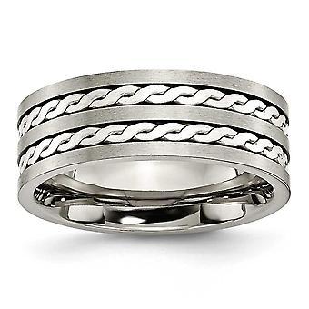 Titânio 925 Sterling Prata Ggravable Inlay 8mm Escovado e Anel de Banda Jóias Presentes para Mulheres - Tamanho do anel: 6 a 15