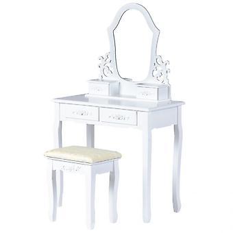 Mesa de vestir blanca en madera 75x40x139 cm con espejo y heces