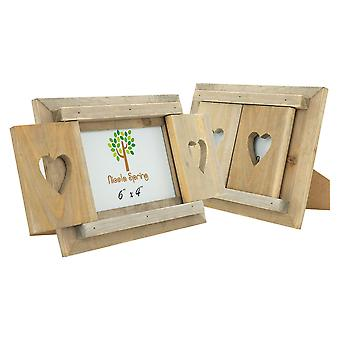 """Nicola Spring Set de 2 6 x 4 madera independiente marco de imagen de la foto - obturadores del corazón - se adapta 6x4"""" fotos - natural"""