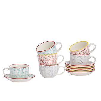 Nicola Spring 12 Piece Hand-Printed Cappuccino Cup and Saucer Set - Porcelain Coffee Teacups - 3 Colours - 250ml