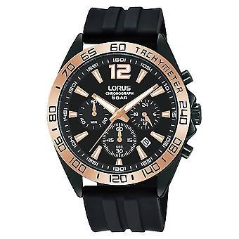 Lorus Mens Chronograph Watch Sunray Black Dial & Black Silicone Strap (RT338JX9)