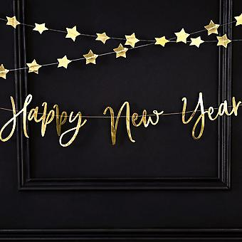 Gold Mirror 'Happy New Year' Banner Decoration 2m