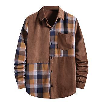 YANGFAN Mens Plaid Splicing Long Sleeve Shirt Lapel Top