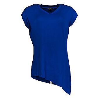 DG2 por Diane Gilman Women's Top XSAsymmetric Hem V-Neck Tee Blue 710-366