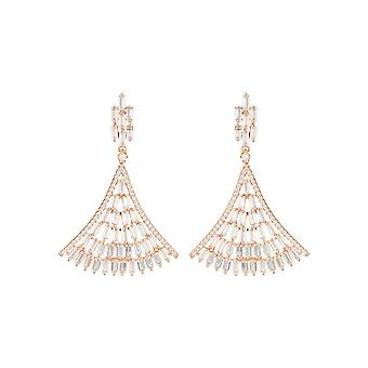 Baguette Fan Tail Large Statement Drop Earrings White Bridal Wedding Rose Gold