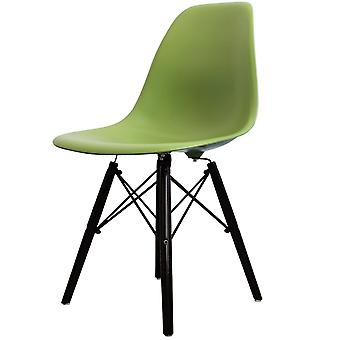 Charles Eames Style Green Plastic Retro Side Chair Black Wooden Legs