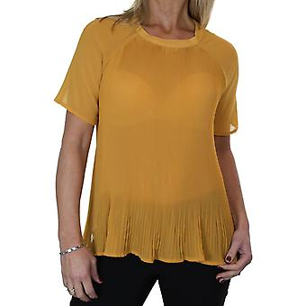 Women's Summer Pleated Sheer Chiffon Top Blouse Ladies Smart Casual Loose Short Sleeve Day Evening Shirt 8-16