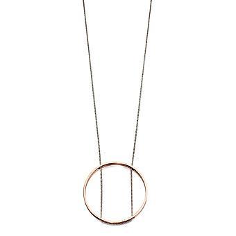 Fiorelli Mode Imitation Rodium & Rose Guld Öppen Cirkel Halsband 93cm + 5cm