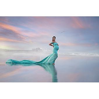 Long Tail Moederschap Fotografie Props Maxi jurken voor zwangere vrouwen kleding