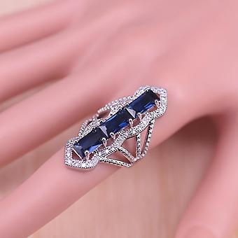 Russian Style Blue Cubic Zircon White Crystal Silver Color Jewelry Set Earrings