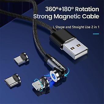 FLOVEME YXF212901 2.1A 3 In 1 8 Pin + Type-C / USB-C + Micro USB 360 graden rotatie gevlochten magnetische oplaadkabel, lengte: 1 m (zwart)