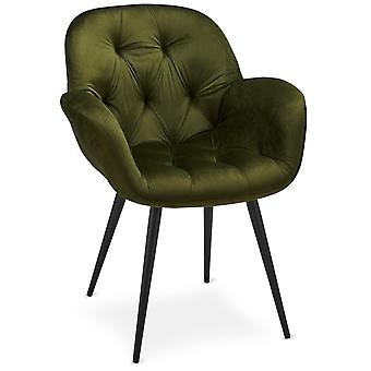 Ibbe Design Salina Dining Chair Olive Green Velvet - Set of 2, 65x60x86 cm